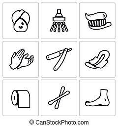 higiene, vetorial, jogo, ícones