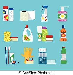 higiene, vetorial, produtos, limpeza, icons.