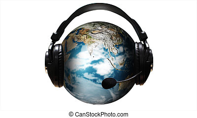 Higly Detailed Ear Phones and ear Piece around a Globe