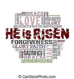 hij, is, risen, religieus, achtergrond