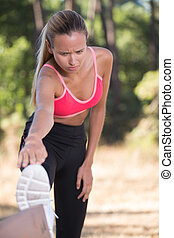 hij, vrouw, atletisch,  Workout,  Stretching, buiten, benen, Voor
