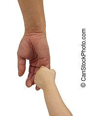 hija, asideros, padre, aislado, mano, plano de fondo, blanco