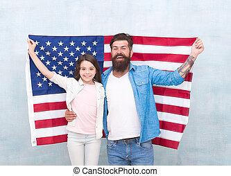 hija, estados unidos de américa, familia , cómo, flag., ...