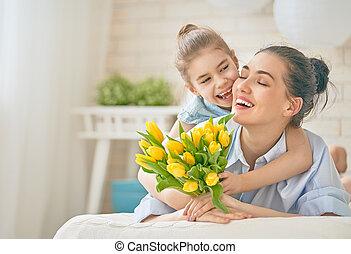 hija, felicitar, mamá