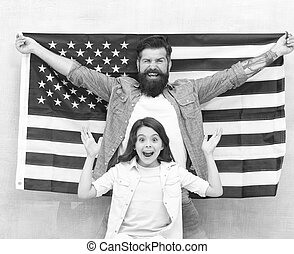 hija, padre, americanos, día de independencia, oportunidad, ...