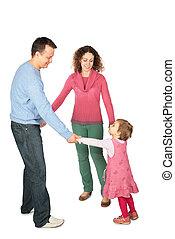 hija, unido, padres, estante, manos, teniendo
