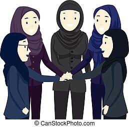 hijab, équipe, filles, illustration, mains