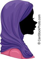hijab, 女の子, muslim, シルエット, イラスト