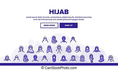 hijab, 着陸, ヘッダー, ベクトル
