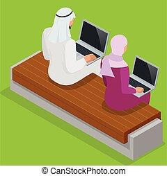 hijab, arbete, affär, arab, affärskvinna, arab, isometric, man, laptop., vektor, lägenhet, illustration., 3