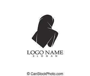 hijab, frauen, schwarz, silhouette, vektor, heiligenbilder, app