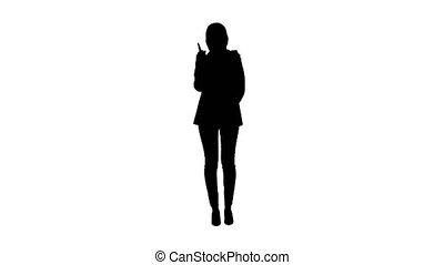 hijab, hocher, doigt, arabe, femme affaires, approval., silhouette, tête, élévation