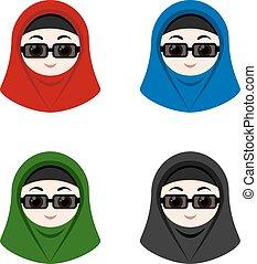 hijab, meiden, avatars, spotprent