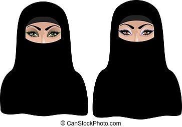 hijab, mujer, negro, musulmán