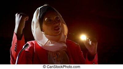 hijab, séminaire, business, auditorium, femme affaires, 4k, parler