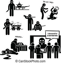 Hijacker Terrorist Airplane Clipart - A set of human ...
