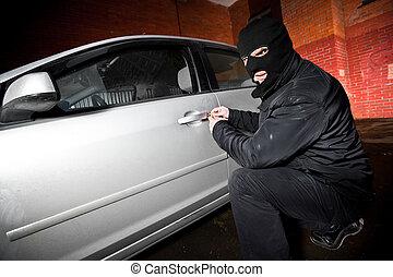 hijacks, automobile, maschera, ladro, ladro