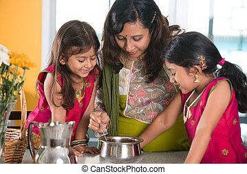 hijas, ella, indio, cocina, cocina, madre