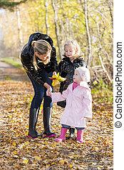 hijas, madre, otoñal, ella, naturaleza
