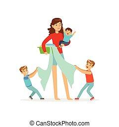 hijos, tres, Ilustración, desobediente, madre, caricatura