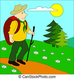 Hike-2 - Hiking man with rucksack