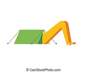Hike camping. Sticking out head and legs from tent.