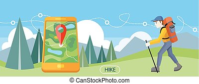 Hike Concept - Man traveler with backpack hiking equipment...