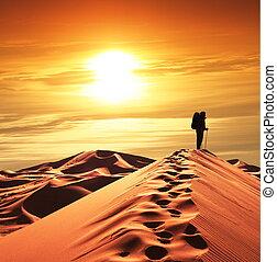 Hike in desert - Hike in sand desert