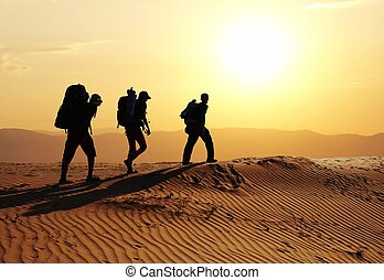 Hike in desert - Group going  in sand desert