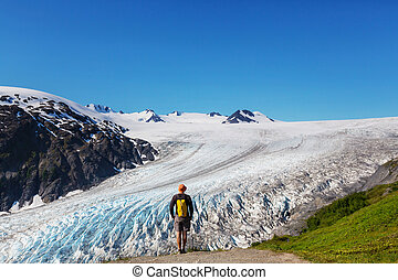 Hike in Exit glacier - Hiker in Exit Glacier, Kenai Fjords...