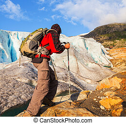 hike in Norway mountains, Svartisen Glacier