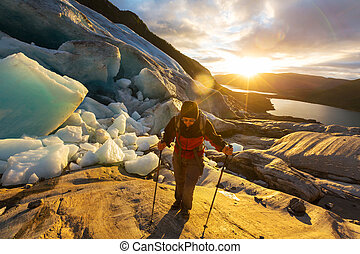 Hike in Norway - hike in Norway mountains,Svartisen Glacier