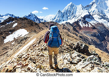 Hike in Peru - Hiking scene in Cordillera mountains, Peru
