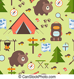 Hike in the woods seamless pattern depicting a tent bear...