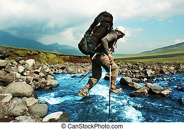 Hiker in Kamchatka