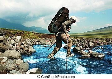 Hike on Kamchatka - Hiker in Kamchatka