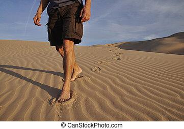 hiker, 맨발로, 사막