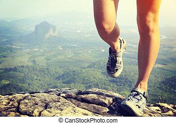 hiker, 올라감, 여자, 다리, 나이 적은 편의