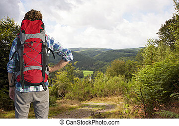 Hiker admiring a view - Traveler absorbing the view of the ...