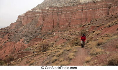 hiker - Adult male walking through Cappadocia