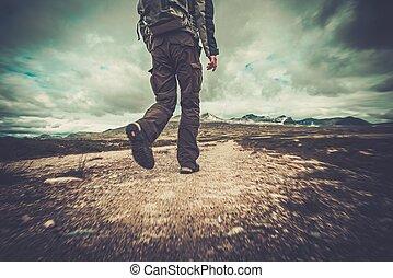 hiker, andar, em, um, vale