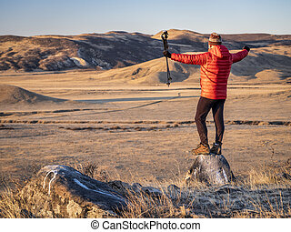 hiker at foothills of Rocky Mountains in northern Colorado