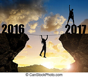Hiker climbs into the New Year 2017