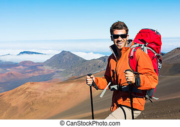 hiker, com, mochila