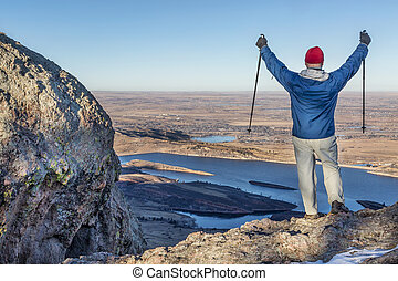 hiker, com, trekking, polos