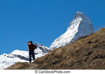 hiker, e, matterhorn