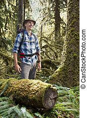 hiker, em, selva moderada