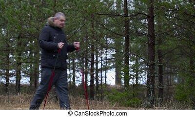 Hiker enjoy forest