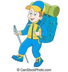 hiker, escalador montanha, caricatura