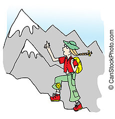 Hiker Girl - A young girl hikes to the top of a mountain...